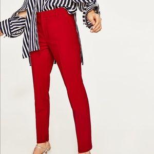 Zara Woman Red Pencil Pants 6